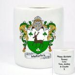 Family Crest Coat of Arms Money Box, personalised message on the back, ref FCMB